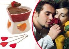 Szív alakú fondue szett melegítővel, 4 fondue villával és szív alakú fogóval