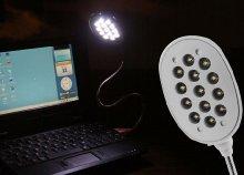 Energiatakarékos, USB-s laptop világítás 13 LED-del, rugalmas, hajtogatható acél nyakkal