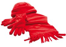 Puha gyapjú szett sapkával, bojtos hatású sállal és egy pár kesztyűvel háromféle színben