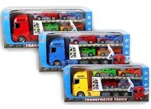 Autószállító kamion négy szállítható személyautóval 3 színben