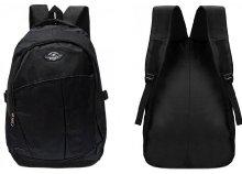 Jól pakolható, fekete, elől zsebes, nagy méretű, kényelmes hátizsák