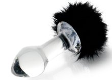 Sexus Glass üveg, fehér, 9,5 cm-es anális izgató fekete bojtos farokkal