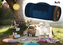 Kiváló minőségű, polár pikniktakaró, színes díszvarással, hordozó pánttal