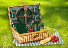 Green Park négyszemélyes bambusz piknikkosár műanyag evőeszközökkel és terítővel!