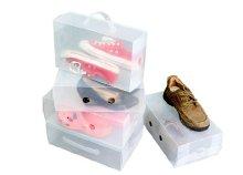 Átlátszó, összecsukható, műanyag cipőtároló doboz