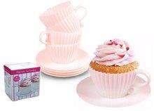4 db-os, dekoratív, teáscsésze alakú, szilikon muffin forma