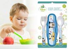 Utazó baba evőeszköz készlet, egy kanállal és egy villával
