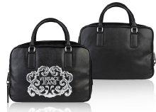 Versace divatos, műbőr női kézitáska, cipzáras zsebekkel, fekete színben