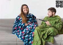 Terepmintás Extra Soft Snug Snug felnőtt takaró ujjakkal