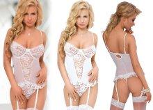 Yvette erotikus fehérnemű szett fehér színben S-es méretben