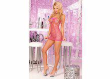 Hálós szexi miniruha, pink