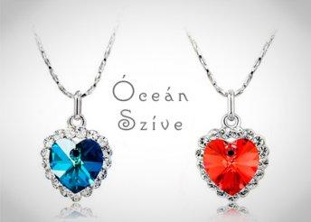 Fehér arannyal bevont Óceán Szíve kristálymedál és lánc, piros vagy kék színben