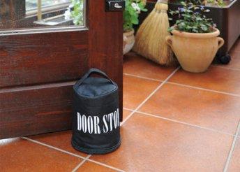Block ajtótámasztó hordozó füllel és cipzárral