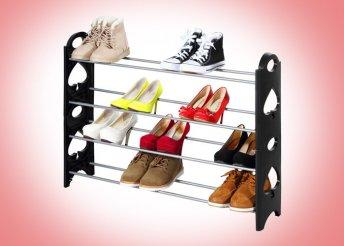 4 soros cipőtároló, könnyen összeszerelhető szerszámok nélkül, könnyű és praktikus tárolás, elegáns megjelenés