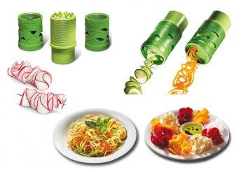 Varázsold elegánssá ételeid -Gyümölcs és zöldségvágó spirál, cserélhető vágófejekkel