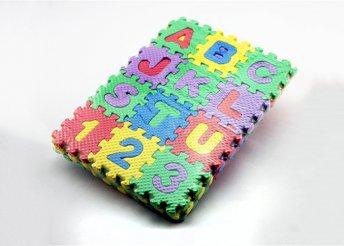 Játékos tanulás gyermekednek - 36 db-os színes, mini hab puzzle szőnyeg betűkkel és számokkal