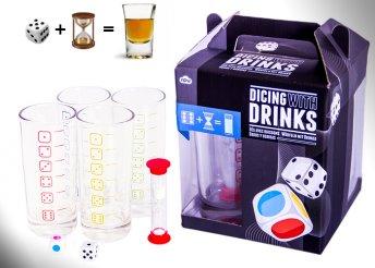 Kockás italkészlet, 4 személyre