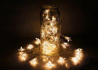 Elegáns dekoráció 4 méter hosszú LED-es fényfüzérrel, amelyen csodás csillagok világítanak