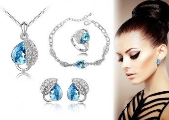 Ékszer szett: gyűrű, karkötő, nyaklánc és fülbevaló