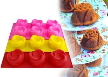 Rózsa vagy szív alakú szilikon muffinsütő