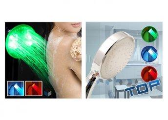 Különleges, világító, LED-es zuhanyfej