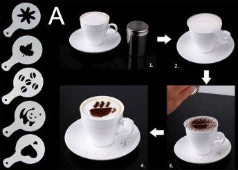 5 db-os cappuccino díszítő sablonkészlet