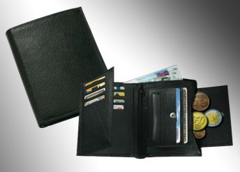 Unisex, valódi bőrből készült minőségi pénztárca fekete színben