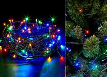 100 db-os, LED-es, négy színben pompázó karácsonyfa izzósor, 8 világítási móddal