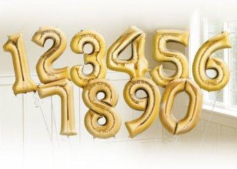 Aranyszínű szám alakú fólia lufi