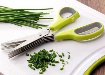 Praktikus fűszernövény vágó olló, 5 pengével és zöld színben, ideális ételdekoráció készítéséhez is
