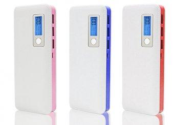 LCD kijelzős külső akkumulátor 3 USB porttal háromféle színben