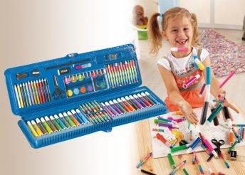 85 darabos színező készlet színes ceruzákkal, zsírkrétákkal, filctollakkal és még sok egyéb eszközzel