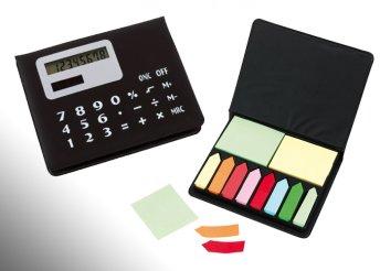 Jegyzettartó napelemes számológéppel, öntapadó csíkkal, jegyzettömbbel