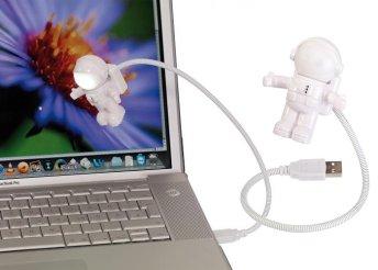 Egyedi, asztronautás USB lámpa rugalmas nyakkal, laptopokhoz