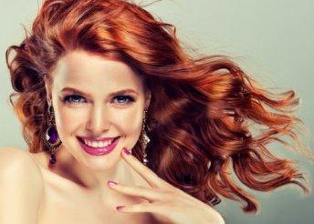 Vadítóan vörös hajfestés, vágással, ápolással és szárítással