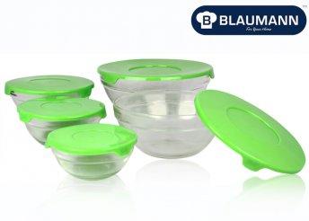 10 db-os, zöld üveg tárolóedény szett