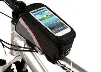 Vázra szerelhető kerékpár táska rózsaszín szegéllyel, cseppálló telefontartóval