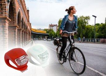 2 db-os, energiatakarékos, szilikon anyagú, vízálló, LED-es kerékpár lámpa szett