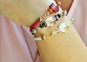 Piros, bőrből készült, állítható barátság karkötő Swarovski kristályokkal