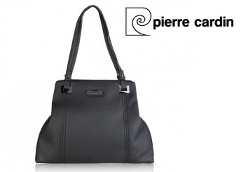 Pierre Cardin márkájú, márkajelzéssel díszített, fekete, női, műbőr táska
