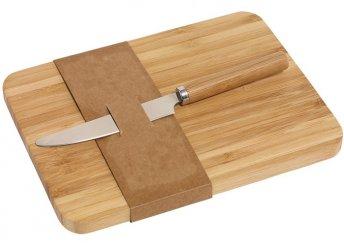 Bambusz vágódeszka rozsdamentes, bambusz nyelű fém késsel