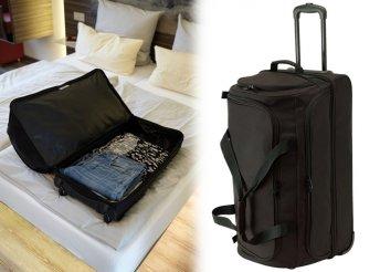 BERGEN fekete, gurulós utazótáska strapabíró anyagból, több cipzáras zsebbel, kihúzható fogantyúval