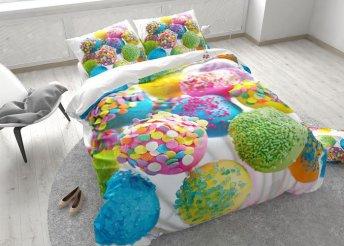 Vidám, színes, nyalókákkal díszített pamut ágyneműhuzat garnitúra