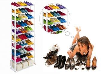 10 soros, fehér cipőtároló állvány