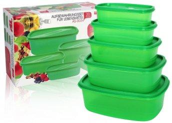 20 részes szett, praktikus, egymásba helyezhető, zöld tárolódobozokkal és frissentartó tasakokkal