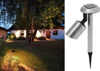 Földbe szúrható, napelemes kerti lámpa erős, fehér LED-el, fém külsővel