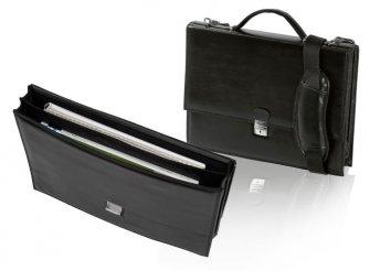 Műbőr irattáska A4-es zsebbel a dokumentumoknak, párnázott vállpánttal, fém biztonsági zárral