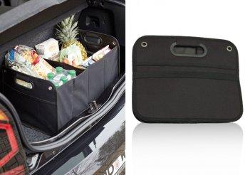 Nagy teherbírású, több rekeszes, összehajtható, autós csomagtér tároló, fekete színben