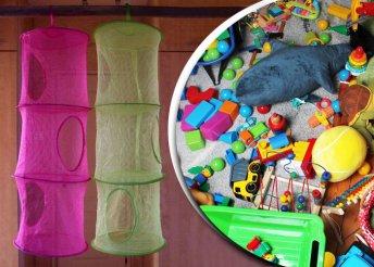 Háromszintes, felakasztható, hálós játéktároló több színben