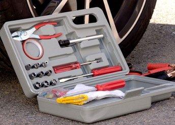 35 darabos Road Trip autós sürgősségi szerszámos bőrönd